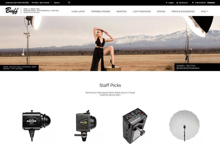 website screenshot of new Paul C. Buff, Inc. site
