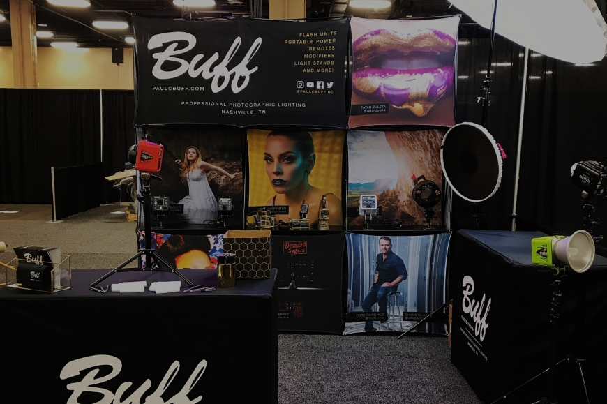 Paul C. Buff, Inc. trade show booth on display at the 2018 Professional Photographer of America's Imaging USA