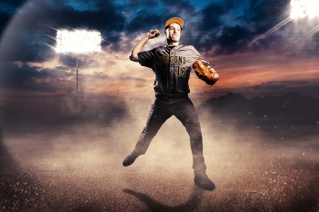 Baseball player photographed by Kansas City photographer, Mike Curtis