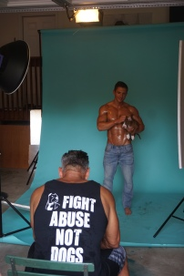 celebrity photographer, Mike Ruiz, photographing content for his 2019 'Bullies & Biceps' Calendar featuring male models and rescue pitbulls
