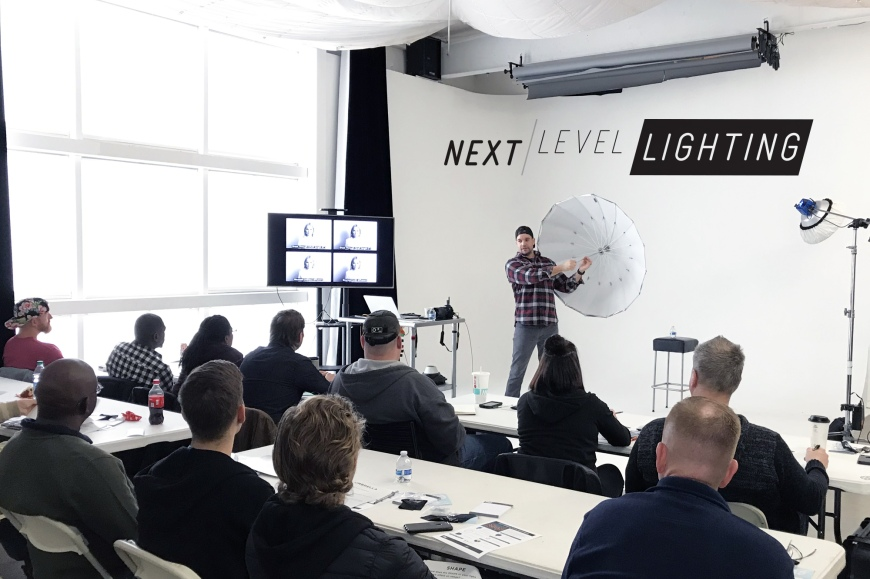 Jeff Carpenter of Readylight Media shows a Paul C. Buff, Inc. PLM umbrella to the attendees of his Next Level Lighting Workshop in Franklin, TN.