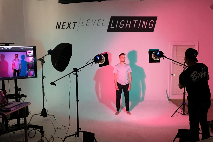 Jeff Carpenter, of Readylight Media, photographs Hunter Hethcoat during the May 2019 'Next Level Lighting' Workshop