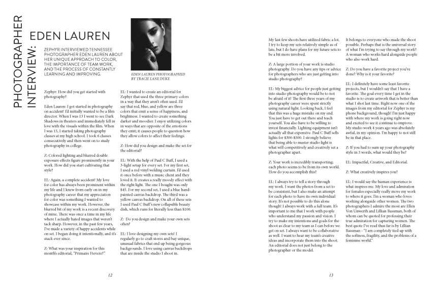 Nashville based fashion and portrait photographer, Eden Lauren featured in Zephyr Magazine